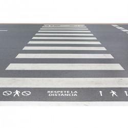 """Kit 3 Plantillas señalización paso de peatones """"respete la distancia"""" con pictogramas (Default)"""