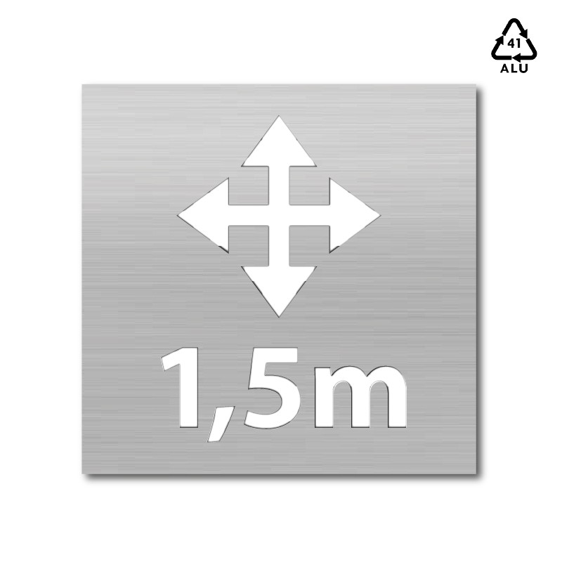 Plantilla pintar señal flecha área de 1,5 m distanciamiento físico