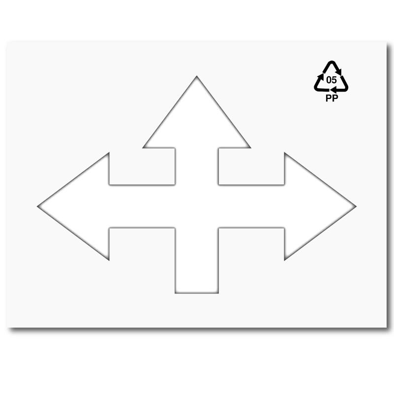 Plantilla pintar flecha cruce tres direcciones