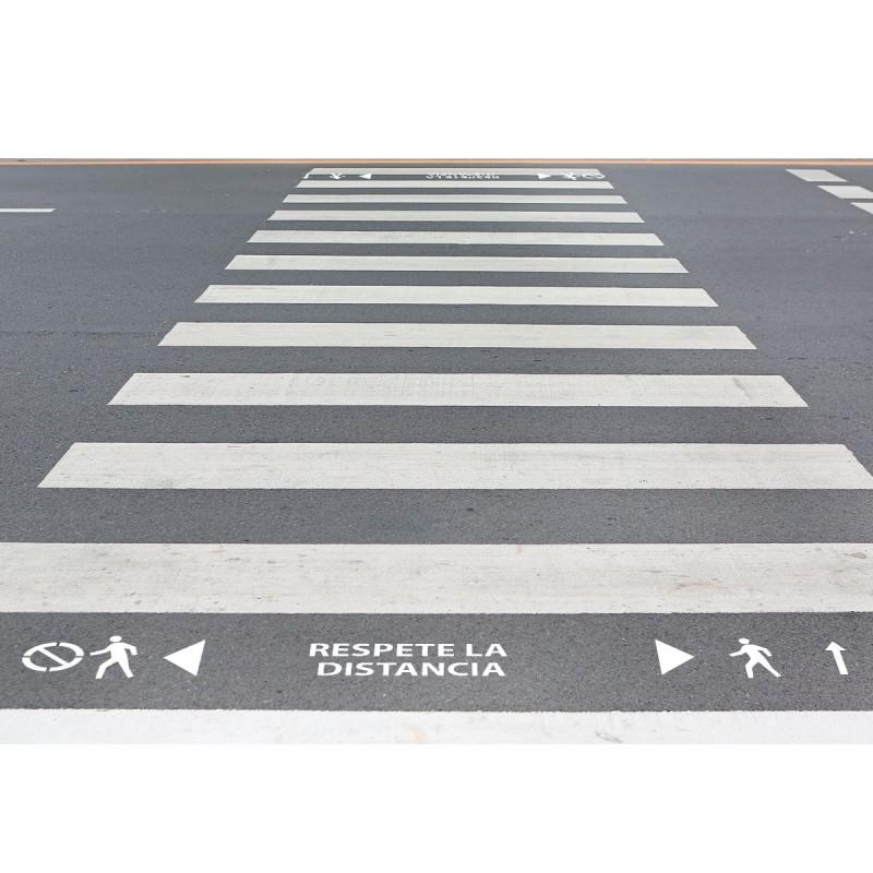 """Kit 3 Plantillas señalización paso de peatones """"respete la distancia"""""""