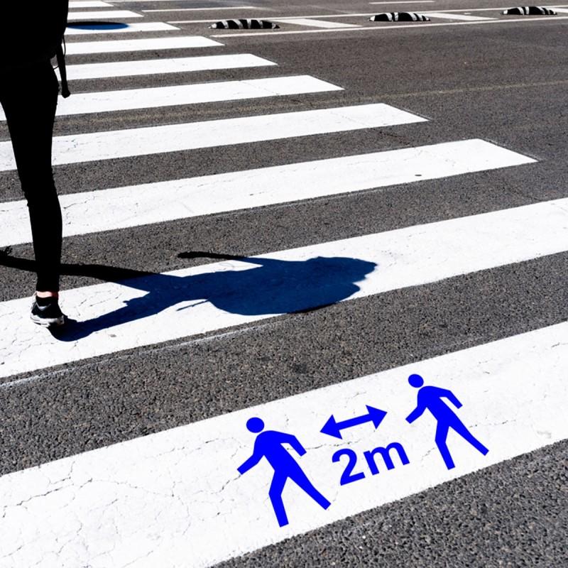 "Plantilla señalización ""peaton distancia 2 m"" coronavirus"