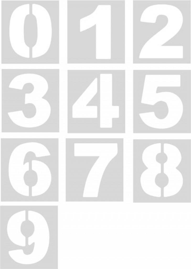 Pack plantillas números (10 números sueltos) Pol 50cm