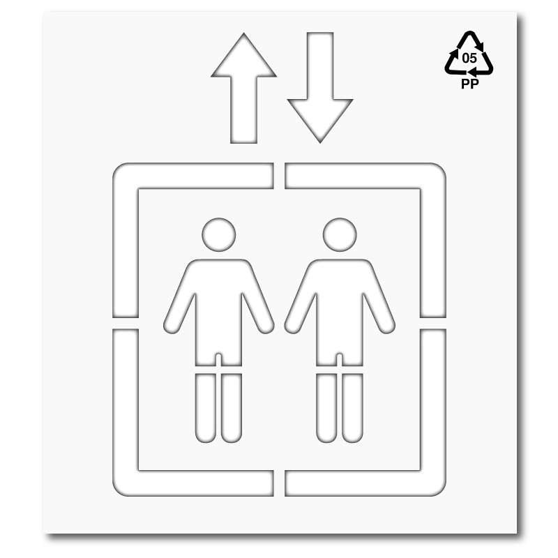 Plantilla pintar señal acceso ascensor