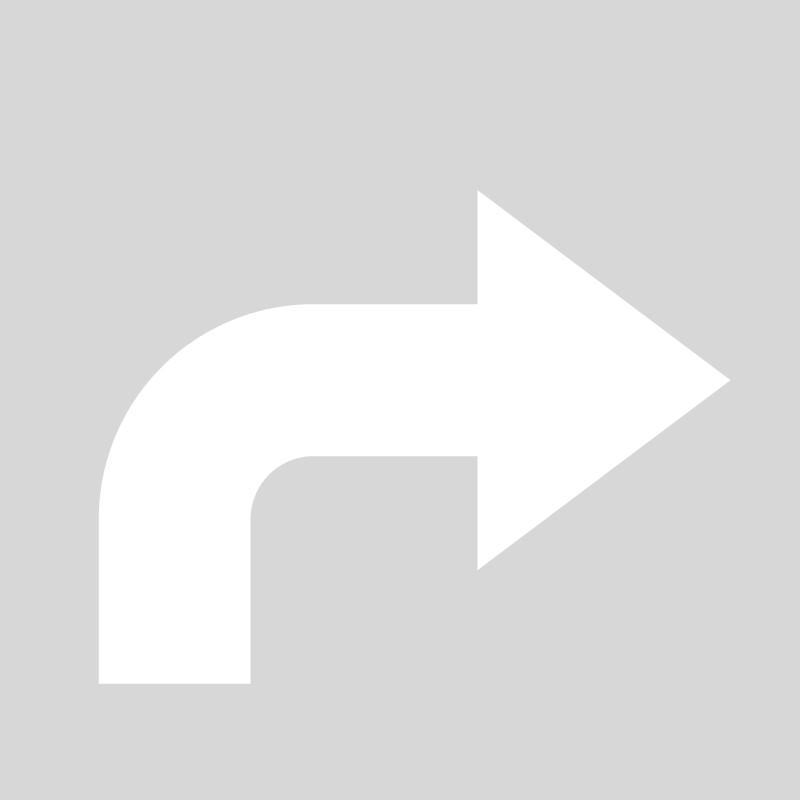 Plantilla flecha giro derecha polipropileno, pvc, aluminio o metal