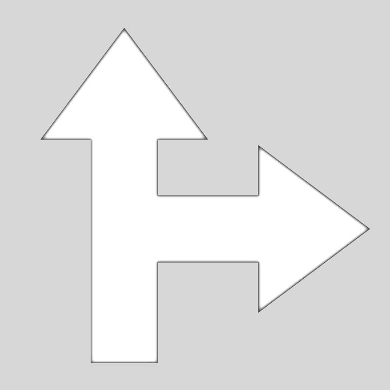 Plantilla pintar flechas 2 direcciones derecha-frente