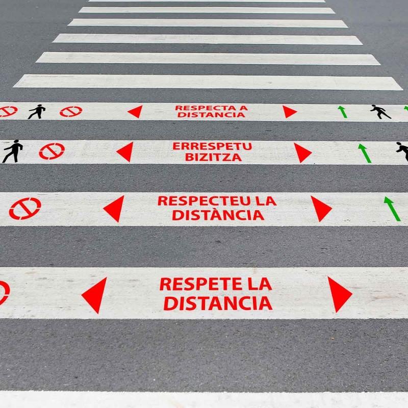 """Kit 3 Plantillas señalización paso de peatones """"mantenga distancia 2 m"""
